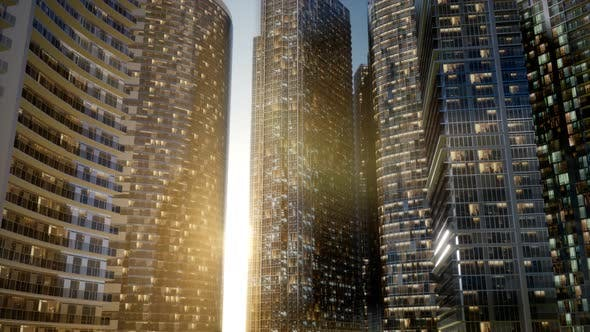Thumbnail for City Skyscrapers at Sunset
