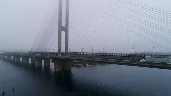 Thumbnail for Aerial View of South Subway Cable Bridge in the Fog