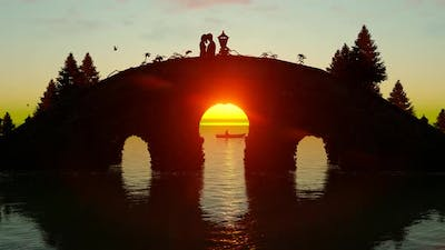 Lovers Making Love on the Bridge at Sunset