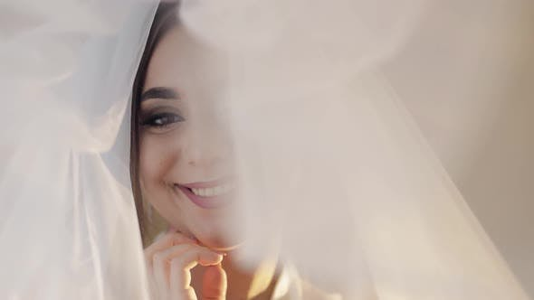 Thumbnail for Face of Beautiful and Lovely Bride in Night Gown Under the Veil. Wedding