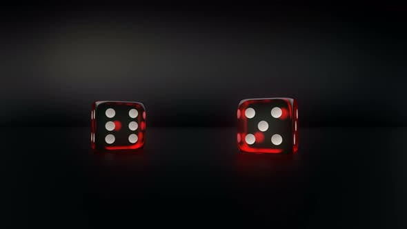 Thumbnail for Pair Of Red Glass Casino Dice Roll Slow Motion Result Five And One