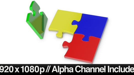 Thumbnail for 4 Jigsaw Puzzle Pieces Tumbling into Position