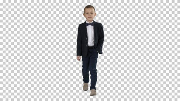 Thumbnail for Boy in Formal Costume Walking with A Hand in Pocket, Alpha Channel