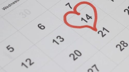 Valentines Day on Calendar