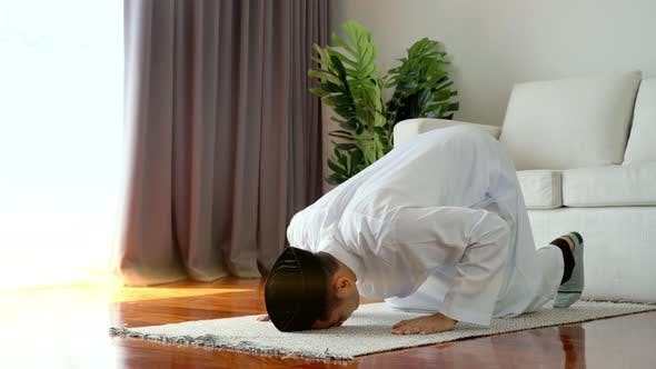 Thumbnail for Portrait of an Asian Muslim Man Prostrating