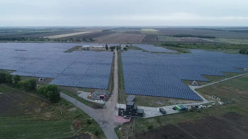 Drone Landscape View of a Huge Solar Power Station in the Field Alternative