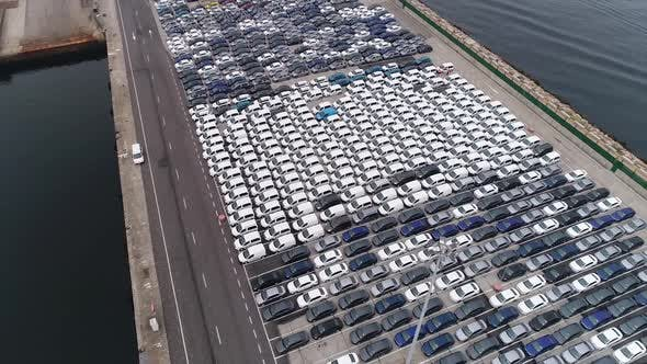 Thumbnail for Storage Parking Lot New Unsold Cars on Pier