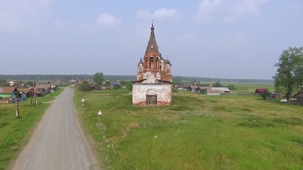 Aerial view of Old ruined abandoned church in a village 01