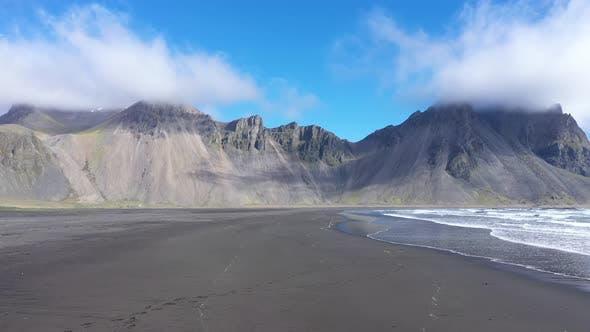 Flying Over Vestrahorn Mountain in Hofn and the Atlantic Ocean, Stokksnes Peninsula, Iceland