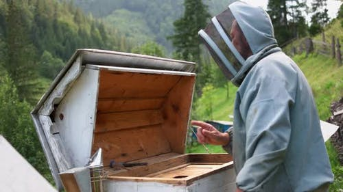 Beekeeper Working on a Beehive with Smoker