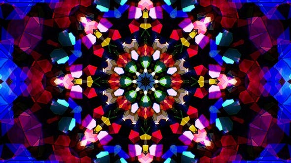 Colorful Stained Glass Kaleidoscope Loop 4K 06