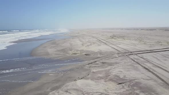 Thumbnail for Aerial drone view of a beach ocean waves in Africa.