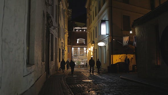 Thumbnail for Old City At Night, Silhouettes of People
