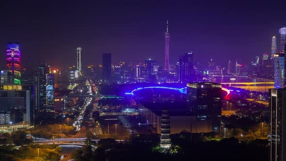 Guangzhou China Import and Export Canton Fair Timelapse