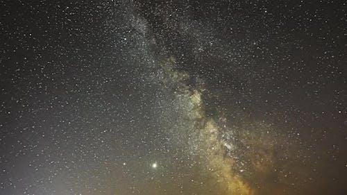 Night Starry Sky Milky Way Galaxy With Glowing Stars