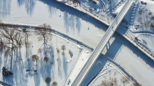 Top View of the Pedestrian Bridge Over the Frozen Svisloch River in Minsk
