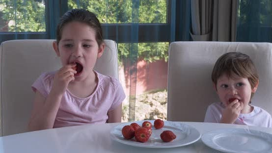 Thumbnail for Cute Children Eating Fresh Ripe Strawberries at Home