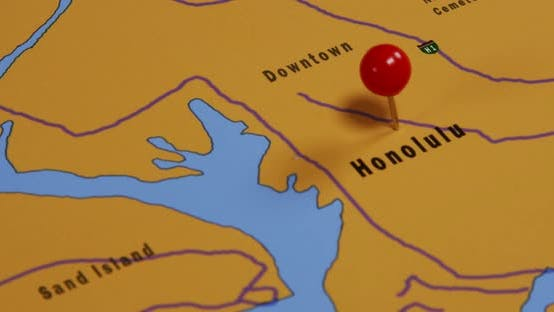 Thumbnail for Red Pushpin on a Map of Honolulu USA 02
