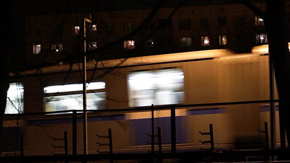 Thumbnail for Metro Subway Train Outdoors At Night