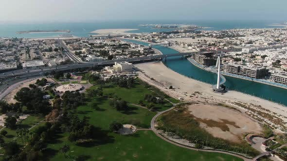 Aerial Footage of the Persian Gulf and the Bridge of Tolerance in Dubai