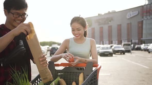 Thumbnail for Laughing Beautiful Asian Couple with Shopping Trolley Full of Different Provisions Standing