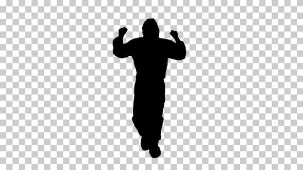 Thumbnail for Silhouette Man in hazmat suit walking, Alpha Channel