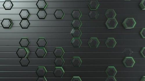 4K Green Hexagonal Background
