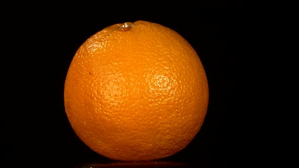 Thumbnail for Ripe Orange Isolated on Black, Rotation