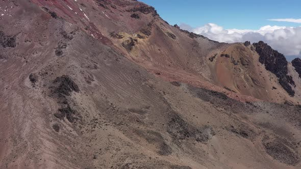Thumbnail for Aerial view of the steep slopes of the chimborazo vulcano and revealing the highest basecamp