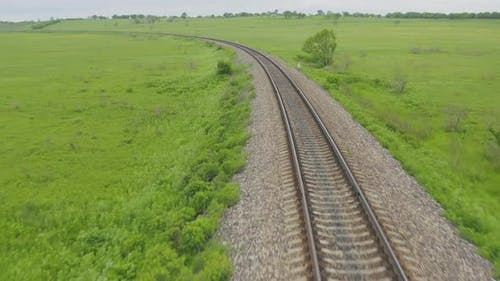 Empty Straight Oneway Railways on a Summer Sunny Day