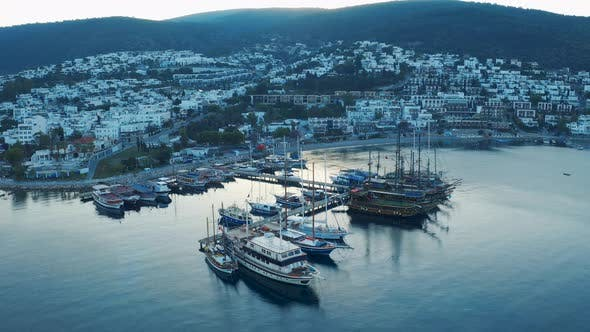 Thumbnail for Aerial View of a Small Port with Moored Boats and Yachts