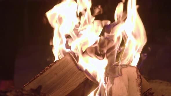 Bonfire. Wood Fire. Camp Fire. Slow Motion Flames