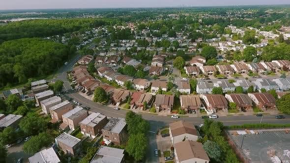 Thumbnail for Aerial View Establishing Shot of American Neighborhood,, Suburb. Real Estate, Drone Shots, Wide Shot