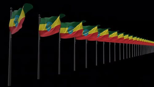 Row Of Ethiopia Flags With Alpha 4K