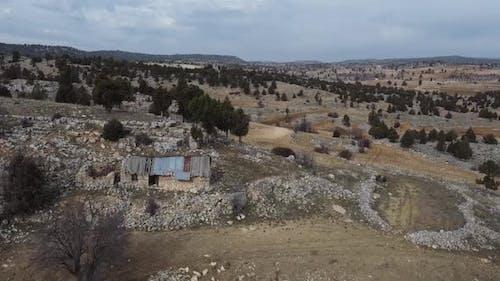 Alone House Outside the City with Nostalgic Stone Walls