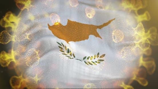 Cyprus Flag With Coronavirus Microbe Centered 4K