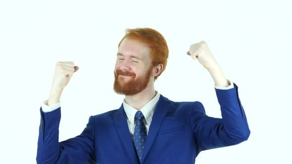 Cover Image for Excited Red Hair Beard Businessman Celebrating Success