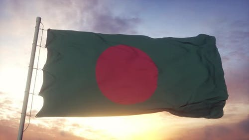 Flag of Bangladesh Waving in the Wind Sky and Sun Background