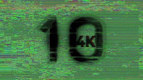 4k Digital Glitch Countdown 10 To 1