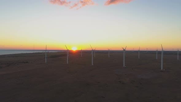 Thumbnail for Aerial View of Wind Farm with Wind Turbine Windmills at Sunset at the Sea Coast in Bulgaria