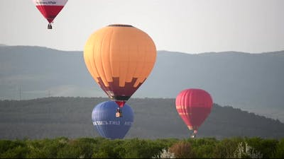 Beautiful Rocky Landscape of Crimea with Colorful Hotair Balloons Balloons Flying on Sunset HDR Time