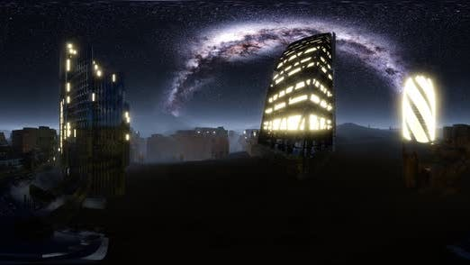 Thumbnail for City Skyline at Night Under a Starry Sky. VR360