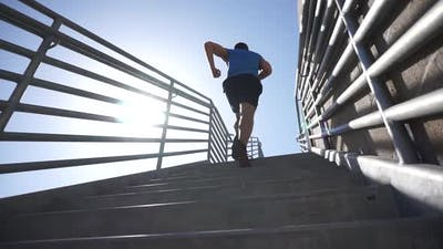 A man running stairs.
