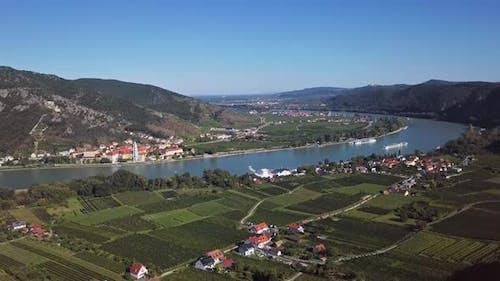 Aerial of Durnstein, Wachau Valley, Austria.