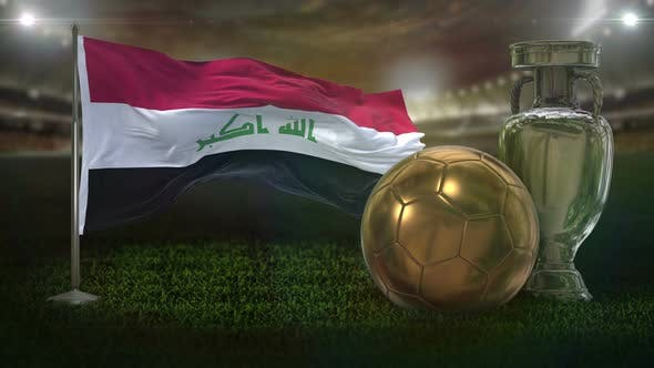 Iraq Flag With Football And Cup Background Loop