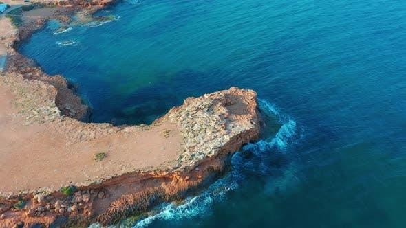 Thumbnail for Mediterranean Coastline Cliff Edge with White Sand