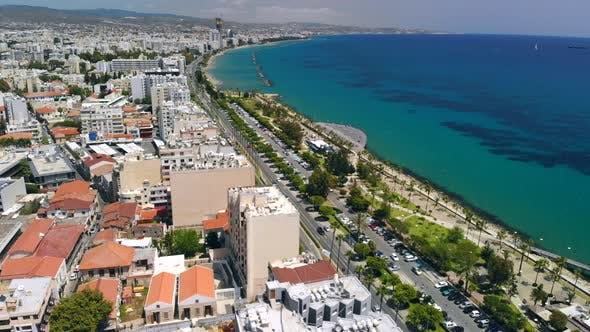 Thumbnail for Limassol City Embankment on Sunny Day Aerial View