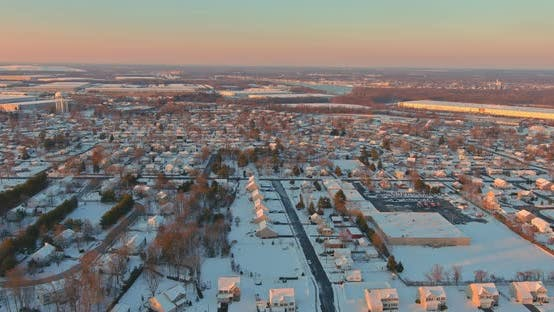 Amazing Winter Landscape Sunset Scenery in Residential Streets After the Snow of a Small Town