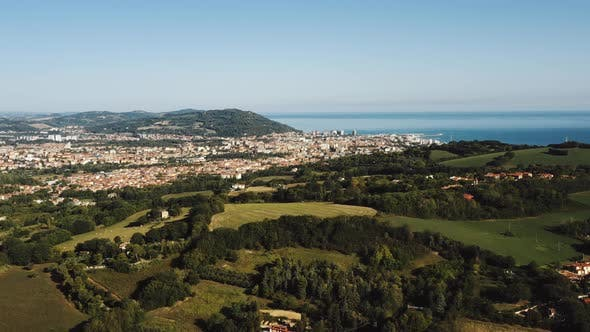 Thumbnail for Majestic Aerial Background Panorama of Green Mediterranean Hills, Sea Bay Horizon and Little