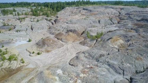 Aerial View Lifeless Abandoned Clay Pit Petrified Surface